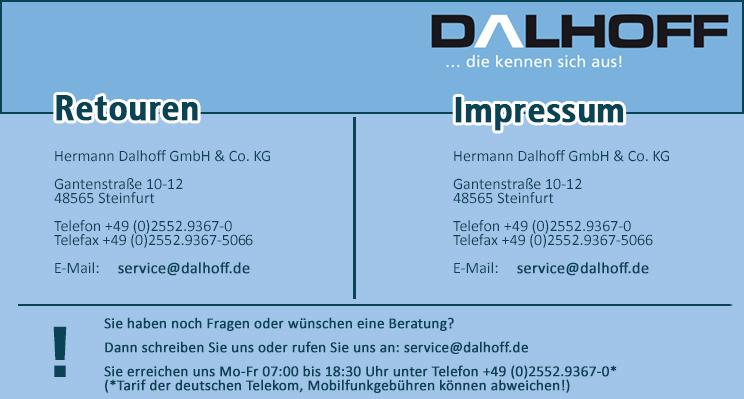 Dalhoff Impressum - Sie haben noch Fragen zum Produkt?