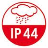 IP 44: Schutz gegen Spritzwasser<br /> und gegen das Eindringen von festen Fremdkörpern mit einem Durchmesser >1mm
