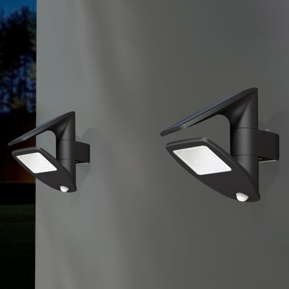 eco light solar wandlampe zeta mit bewegungsmelder ip44. Black Bedroom Furniture Sets. Home Design Ideas