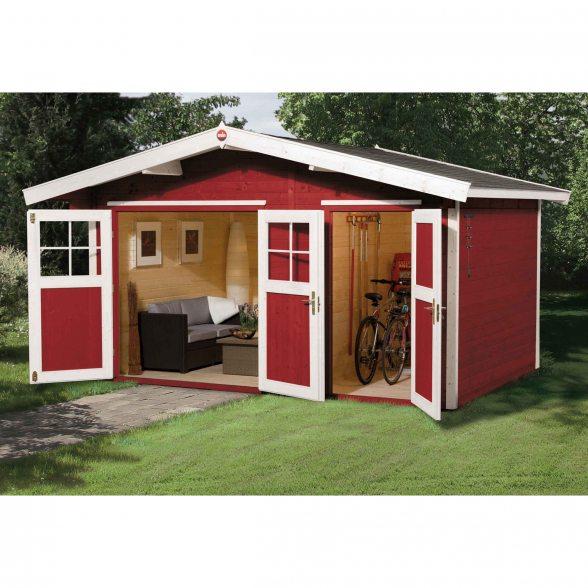 weka gartenhaus 261 mit 2 r umen hieronline kaufen. Black Bedroom Furniture Sets. Home Design Ideas
