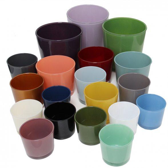 Sch ner bertopf aus farbigem glas konische form for Blumentopf glas